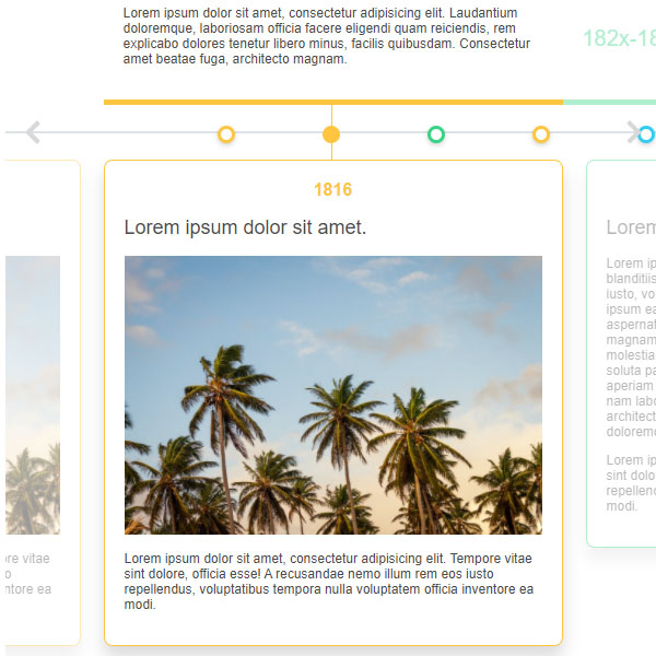 Colored HTML Timeline with Images
