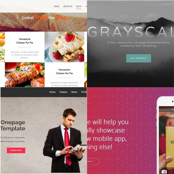 Free Bootstrap, CSS3 and HTML5 One Page themes and templates for websites homepages.