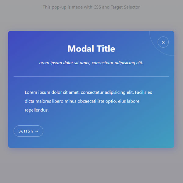 Pure CSS Blue Popup