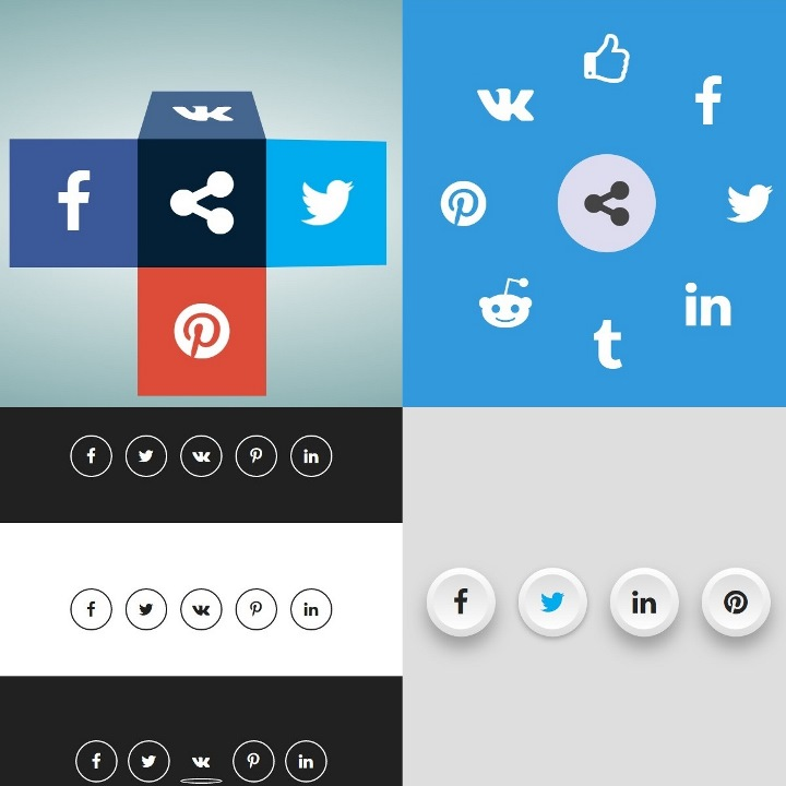 Various social sharing buttons for common social networks.