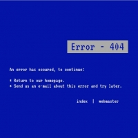 404 not found page in blue screen of death (BSOD) template.