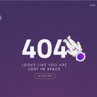 404 not found page in space with astronaut and rocket.