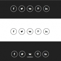 Social buttons in black and white colors with different effects.