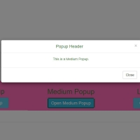 In this code, we have three pop-ups that are in small, medium and large sizes and are displayed by clicking a button.