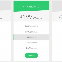 Pricing plans designed with bootstrap and row highlighting effect.