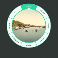 Circular slider with images and text.