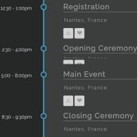 Collapsible timeline with buttons and details panel.
