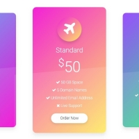 A beautiful pricing plan with different colors and zoom effect