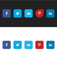 Colorful social media sharing buttons with various hovering effects.
