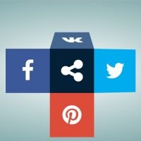 Cubic social share buttons with opening and closing effects.