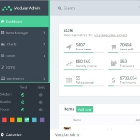 A full featured admin dashboard template which can be customized.