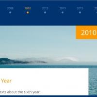 Horizontal timeline for milestones with sliding effect.