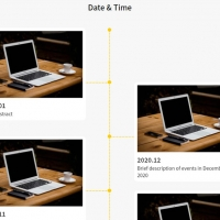 A vertical timeline that is displayed with fade animation in the initial number, and when we click on the more button, 4 more text and images of timeline . . .