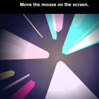 Crystal-like lights are moving in this code and these lights are displayed by placing the mouse cursor on the screen.