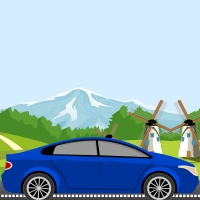 We have a background code in which a car is moving on the road and the mountains are fixed but the plants and the landscape are moving.