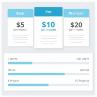 Pricing plans with auto filling bars of feature on hovering.