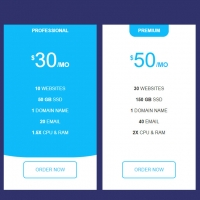 The following code shows you a price plan, which in Hover mode is drug animation and the background color is blue animation and the text is white.