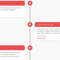 A responsive vertical timeline with action buttons for all cards.