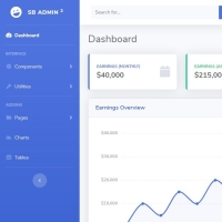 The second version of SB Admin Template for building a beautiful admin dashboard.