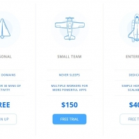 A simple pricing plans table with blue color.