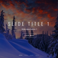 A slider with title, description and button for each slide.