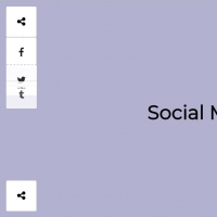 Auto expanding social share buttons at corners of the page.