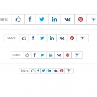 Social sharing buttons with various sizes.